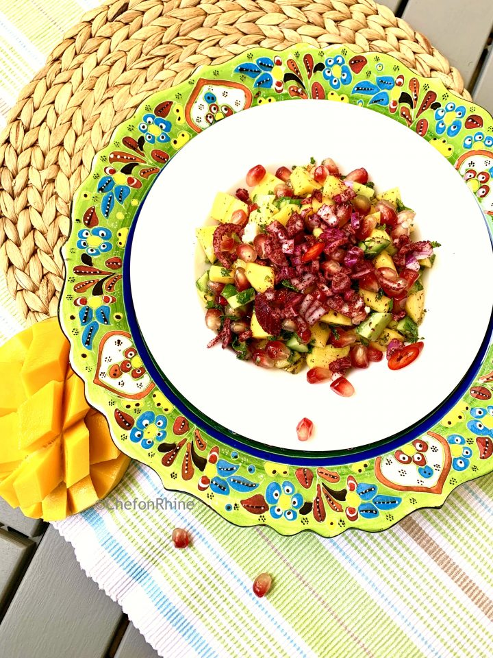 Mango Pomegranate Salad with Sumac Onions