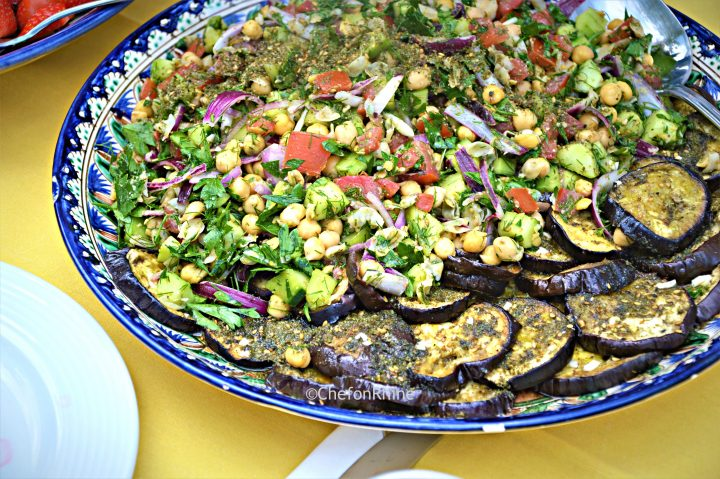 Chickpea Salad with Zaatar-spiced Aubergines